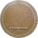 ROUND DINING TABLE - BEIGE & WHITE